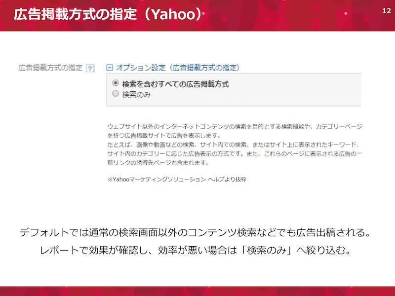 広告掲載方式の指定(Yahoo)。デフォルトでは通常の検索画面以外のコンテンツ検索などでも広告出稿される。レポートで効果が確認し、効率が悪い場合は「検索のみ」へ絞り込む。